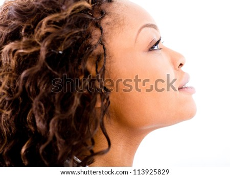 Beautiful black woman portrait - isolated over a white background