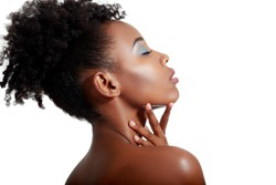Beautiful black woman posing in a studio