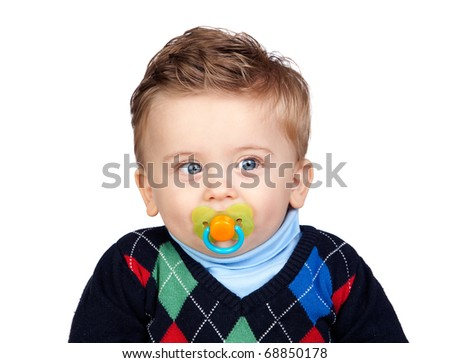 Beautiful blond baby with pacifier isolated on white background