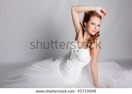 Beautiful blond bride photo in studio