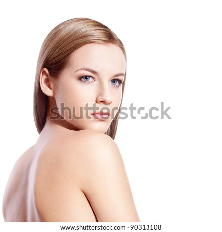 beautiful blond-brown woman face and shoulder over white