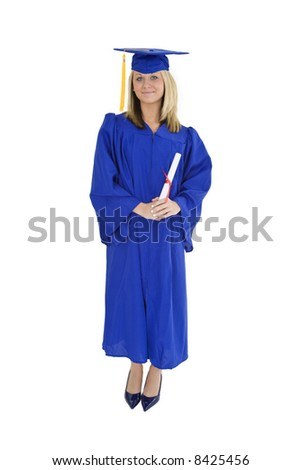 62ee7048d1e Beautiful blond Caucasian woman wearing a blue graduation gown stand on a  white background and holding