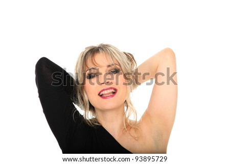 beautiful blond hair woman portrait on studio white isolated background