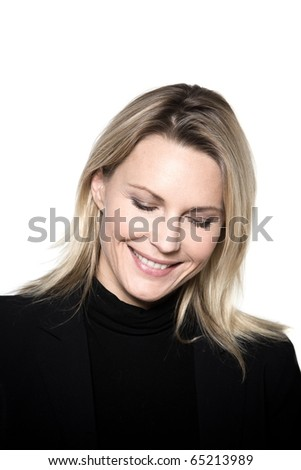 beautiful blond hair woman smiling pensive portrait on studio white isolated background
