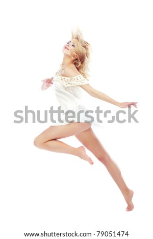 Beautiful blond lady dancing on a white background