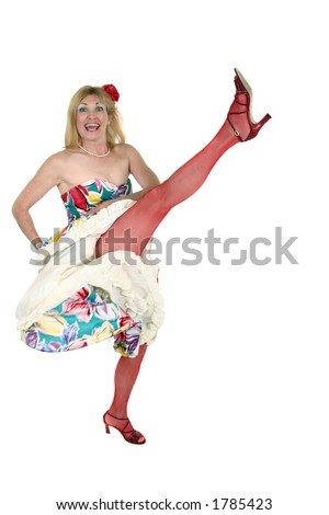 Beautiful blond middle aged woman performs the Can Can -Mesh stockings on legs and flower in hair.