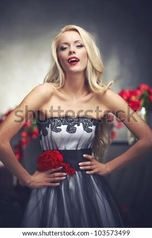 Beautiful blond model posing
