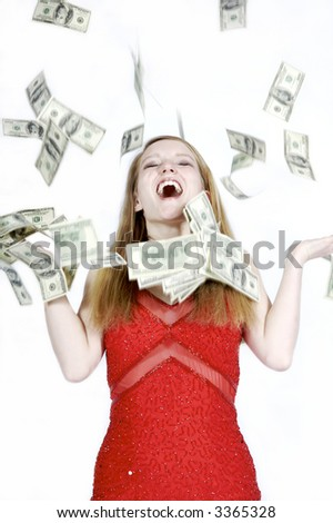 Beautiful Blond with money falling all around her