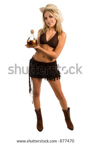 Beautiful blond woman in a bikini and cowboy hat holding an open  bottle of tequila. Bikini By Swimbay