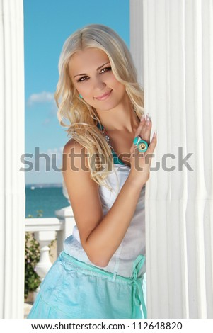 Beautiful blond woman on vacation, relaxed