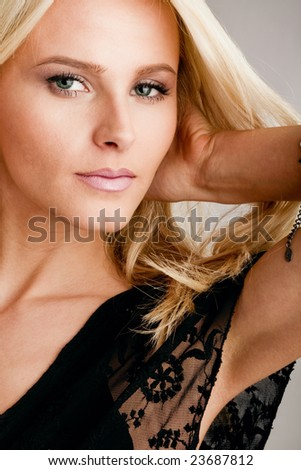beautiful blond woman portrait, studio shot