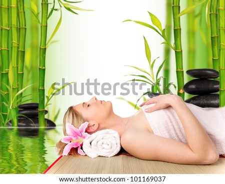 Beautiful blond woman relaxing, concept of wellness and spa
