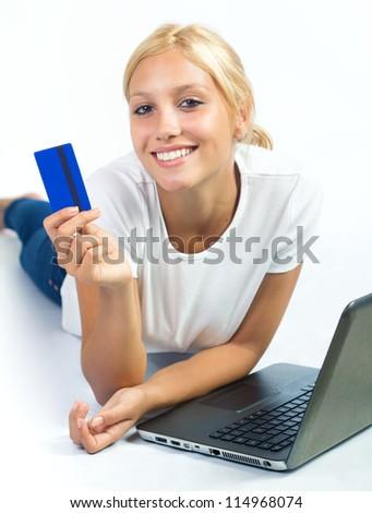 beautiful blond woman shopping online