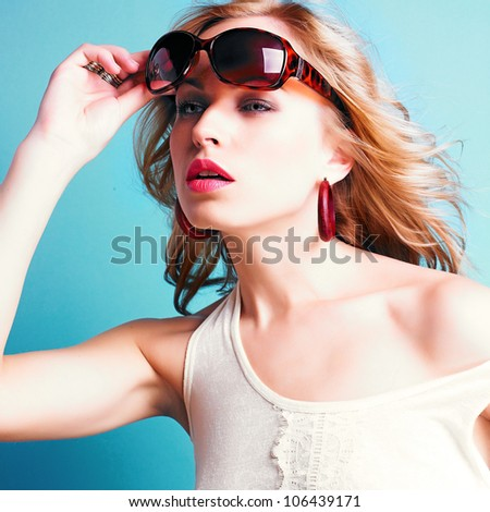 beautiful blond woman with sunglasses