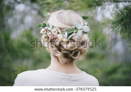 Beautiful blonde bride\'s hairstyle,back view