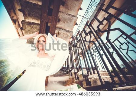 beautiful blonde bride. wedding day - Shutterstock ID 486035593