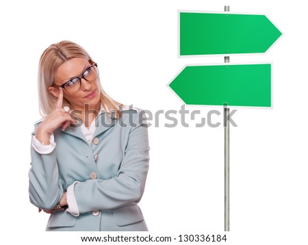 Beautiful blonde business woman thinking about solutions with blank right-left sign, isolated on white