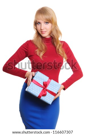 beautiful blonde businesswoman and a gift box. Portrait isolated on white background - stock photo