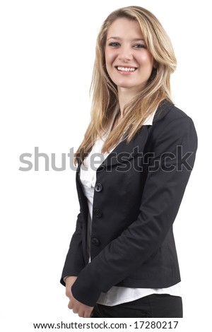 business woman clothes. stock photo : Beautiful blonde usinesswoman wearing office clothes. Isolated on white background