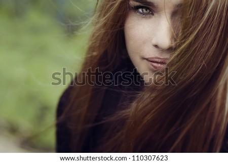 beautiful blonde face close-up