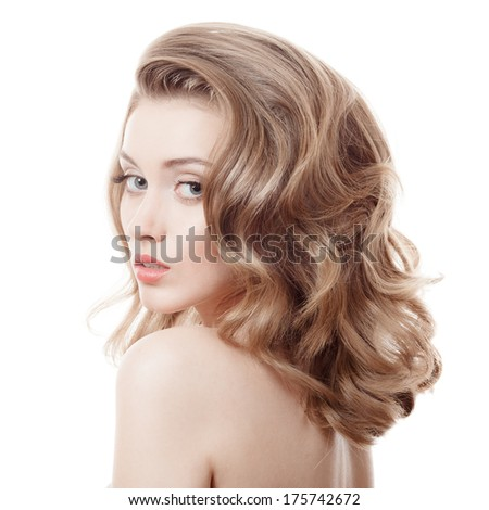 Beautiful Blonde Girl Healthy Long Curly Hair