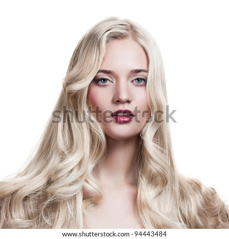 Beautiful Blonde Girl. Healthy Long Curly Hair.