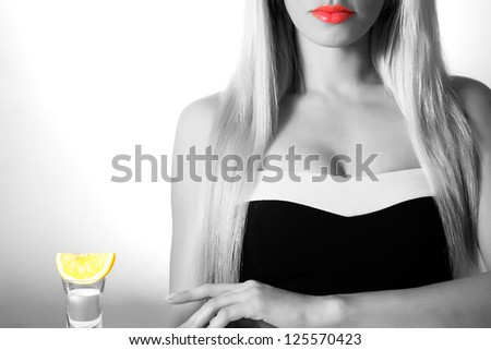 Beautiful Girl Sitting On A Bar Stool Stock Photo Hot