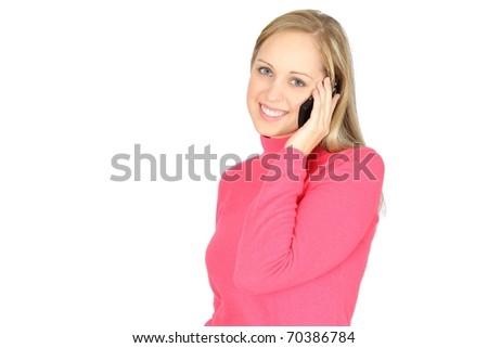 Beautiful blonde girl talking on her smartphone