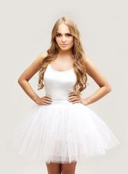 Beautiful blonde   girl wearing white  tutu skirt