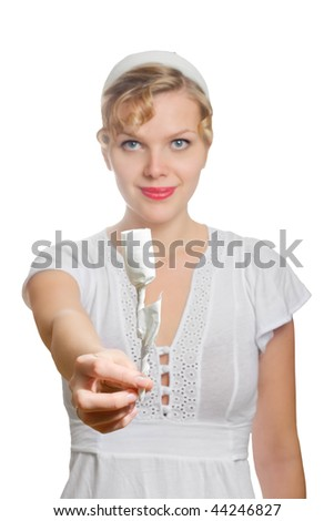 beautiful blonde girl with a single white paper rose, isolated on white