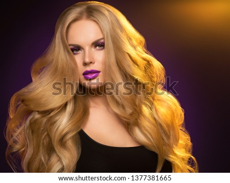 Beautiful blonde hair woman long healthy hairstyle purple color lipstick #1377381665