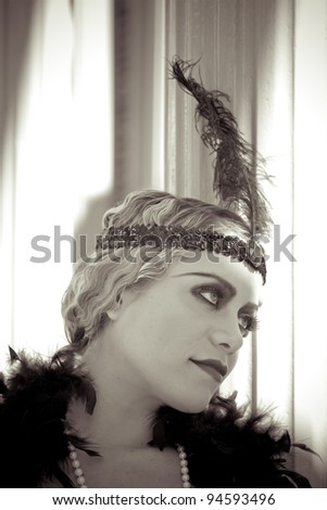 Beautiful blonde in 1920s era of fashion The Flapper""