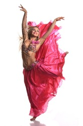 beautiful blonde in the active Arab Dance