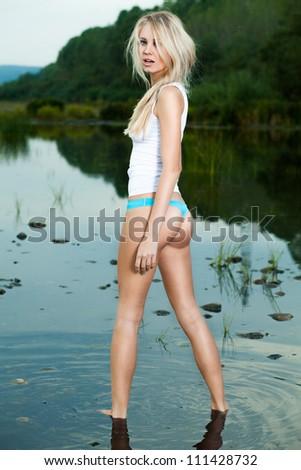 beautiful blonde in water