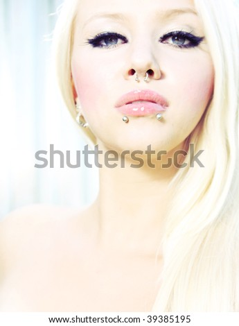 Beautiful blonde with piercing
