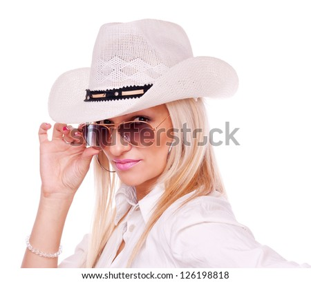Beautiful blonde with sunglasses and hat, isolated on white