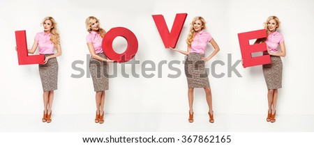 Beautiful blonde woman holding e letter, sing love. Fashion valentines day photo