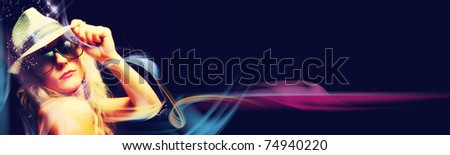 Beautiful blonde woman partying on black background (banner)