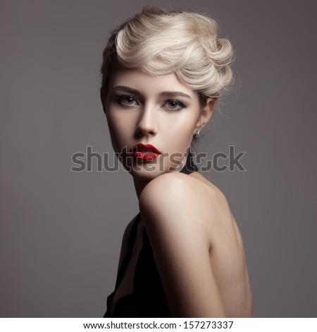 beautiful blonde woman. retro...