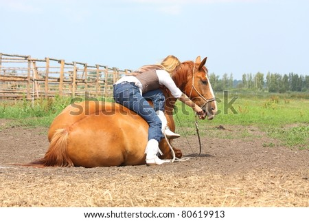 Beautiful blonde woman sitting on chestnut horse lying on the ground