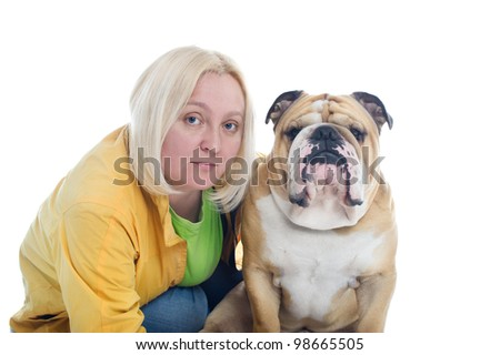 Beautiful blonde woman with a dog english bulldog isolated