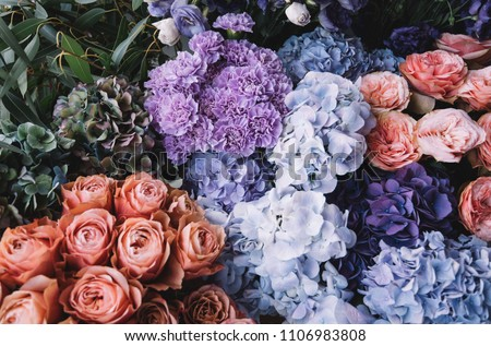 Beautiful blossoming flowers (roses, hydrangeas, carnations, eustoma) in blu, antique blue and peach colours at the florist shop