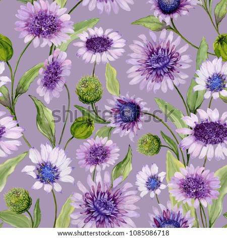 Beautiful blue and purple daisy flowers with closed buds and leaves on light lilac background. Seamless spring pattern. Watercolor painting. Hand painted floral illustration. Fabric, wallpaper design.