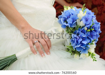 Blue And White Wedding Flowers. stock photo : beautiful lue