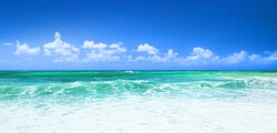 Beautiful blue beach panoramic sea view, with clean water & blue sky