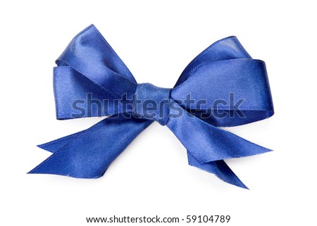 Beautiful blue bow on white