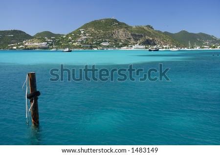 Beautiful blue caribbean bay
