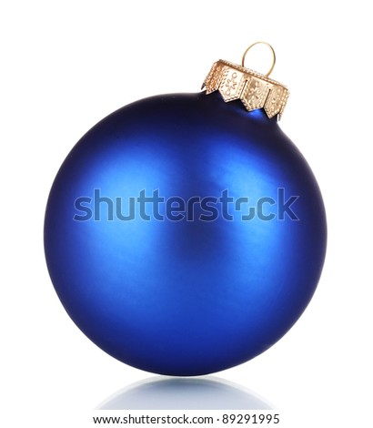 beautiful blue Christmas ball isolated on white