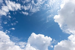 Beautiful blue clear sky with white cumulus clouds (cumulonimbus), bottom view, full frame, photography.
