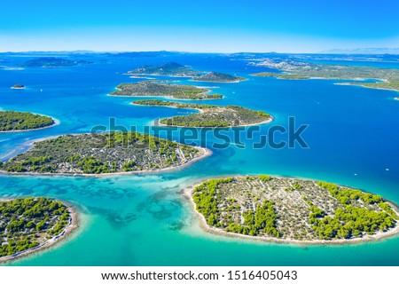 Beautiful blue coast in Croatia, small Mediterranean stone islands in Murter archipelago coastline, aerial view of turquoise bays from drone Сток-фото ©